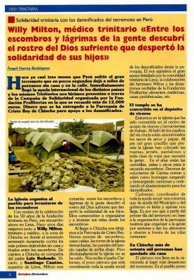 La Familia Trinitaria con los damnificados del Terremoto de Perú (Entrevista a un Religiosos Trinitario destinado allí) (I)