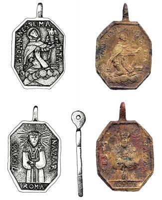 Medallón de San Juan de Matha y del Rescate encontrado en una zona arqueológica de Texas (USA).